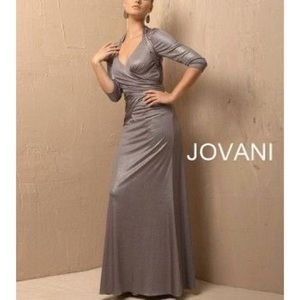 Jovani 3/4 Sleeve gown Silver